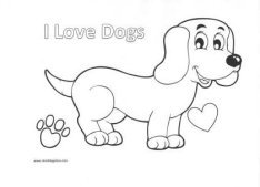 Coloring Page:  I Love Dogs