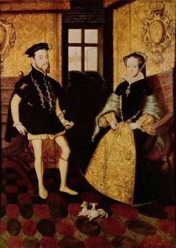 Portrait of King Felipe II. of Spain and his second spouse Queen Maria I. of England