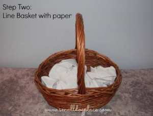 Puppy Gift Basket:  Choose your container and fill with paper