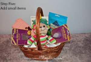Add your smallest items last to your puppy gift basket.