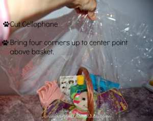 All four corners of the cellophane are pulled together and up and secured with a wire tie or rubber band