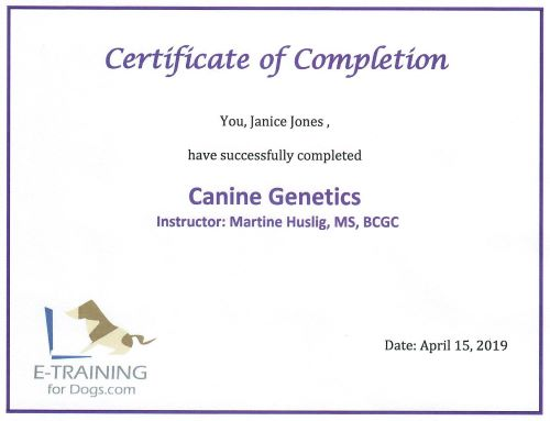 Canine Genetics Certificate