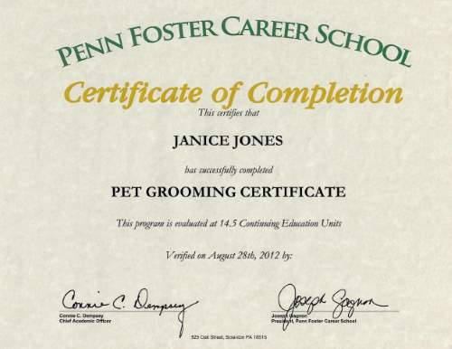 Pet Grooming Certificate from Penn Foster