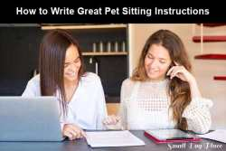 Two girls are sitting at a desk going over the pet sitting instructions.  Link to the article.