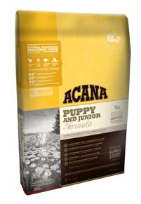 Acana Puppy and Junior Formula bag of dog food.