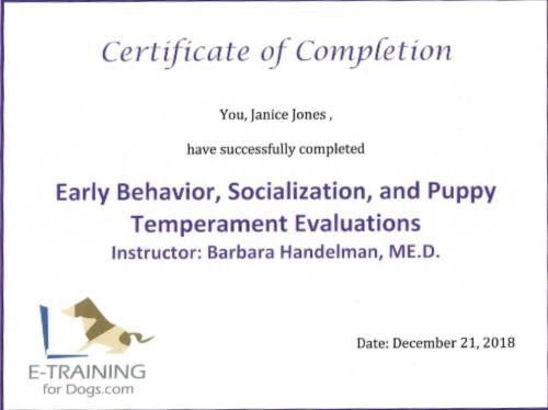 Early Behavior, Socialization and Puppy Temperament Evaluation from Dr.Cheryl Asmus Aguiar eLearning site