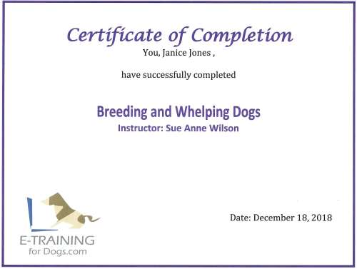 Breeding and Whelping Dogs from e-Learning (Dr. Cheryl Asmus Aguiar)