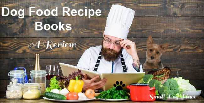 A chef is looking at a dog food recipe book behind a table full of food