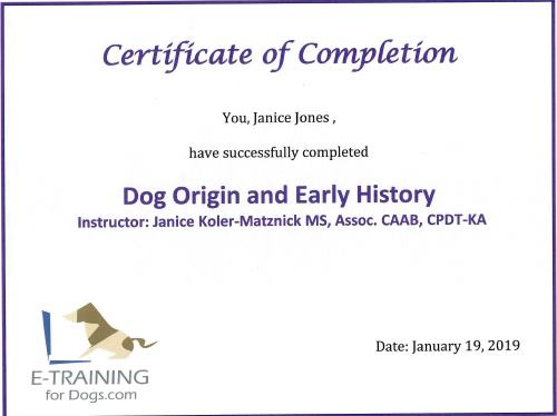 Dog Origins and Early History from Dr.Cheryl Asmus Aguiar eLearning site