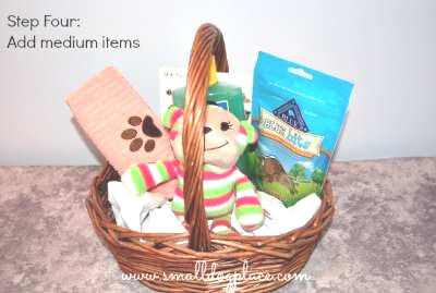 Add medium sized items next to your puppy gift basket.