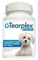 Tearplex is a commercial product designed to reduce and eliminate unsightly tear stains.